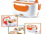 Plastic White And Orange Electric Lunch Box.