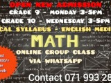 Online Local Gr 9/10 Math Group Classes